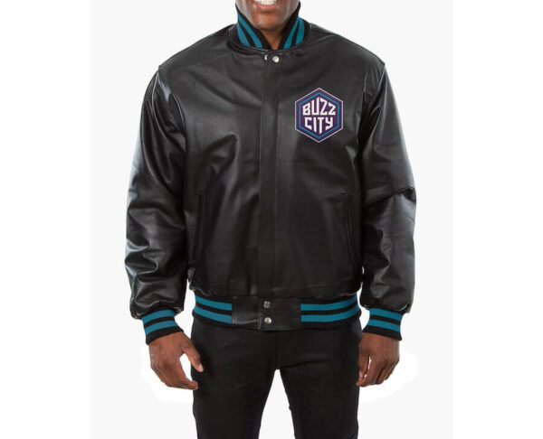 NBA Charlotte Hornets Team Black Leather Jacket