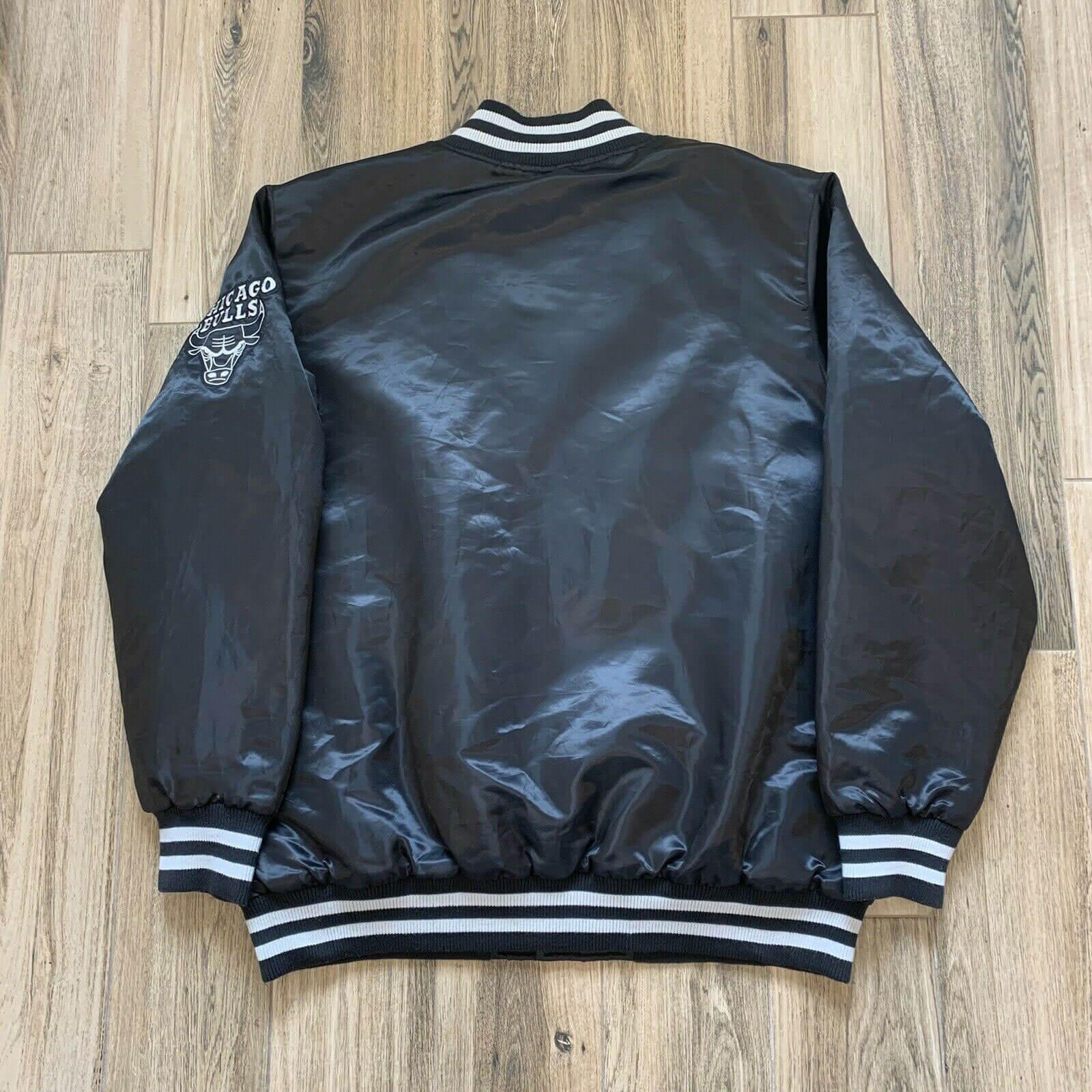 NBA Chicago Bulls Satin Black Jacket