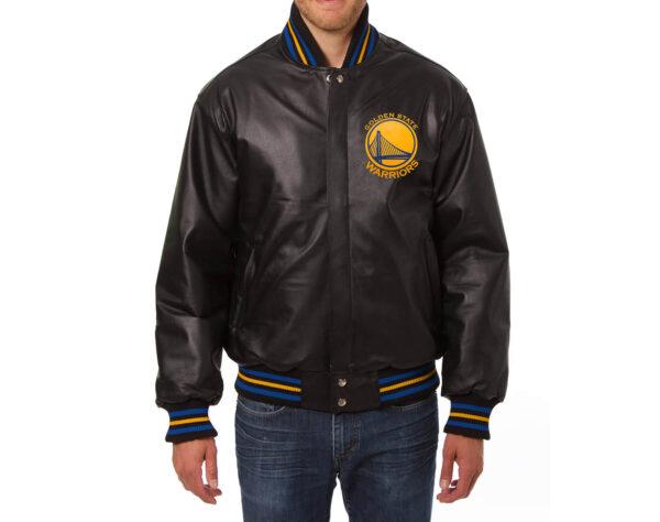 NBA Golden State Warriors Black Leather Jacket