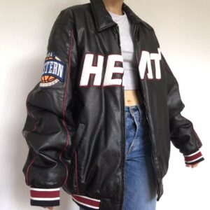 NBA Jeff Hamilton Miami Heat Black Leather Jacket