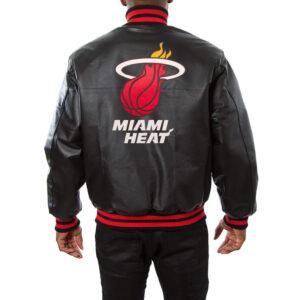 NBA Miami Heat Jeff Hamilton Black Leather Jacket