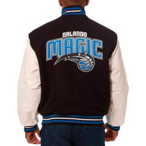 NBA Orlando Magic Black Wool Leather Jacket