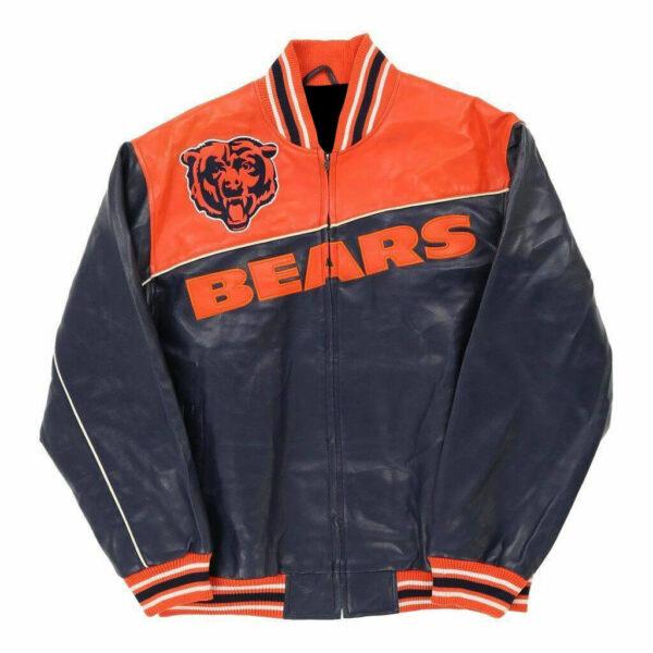 NFL Chicago Bears Orange Jeff Hamilton Leather Jacket