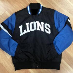 NFL Detroit Lions Blue Satin Jacket