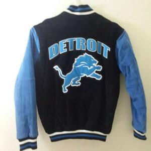 NFL Detroit Lions Suede Black Leather Jacket