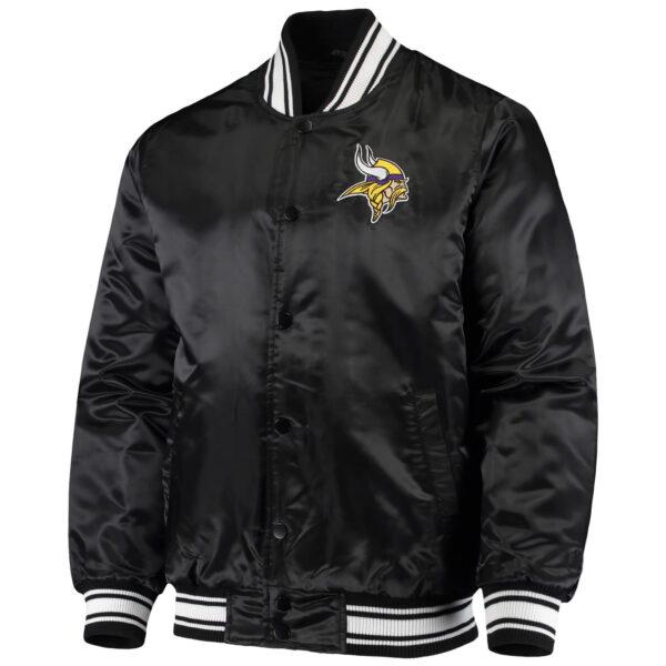NFL Jeff Hamilton Minnesota Vikings Black Satin Jacket