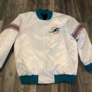 NFL Miami Dolphins White Satin Jacket