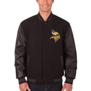 NFL Minnesota Vikings Black Wool Leather Jacket