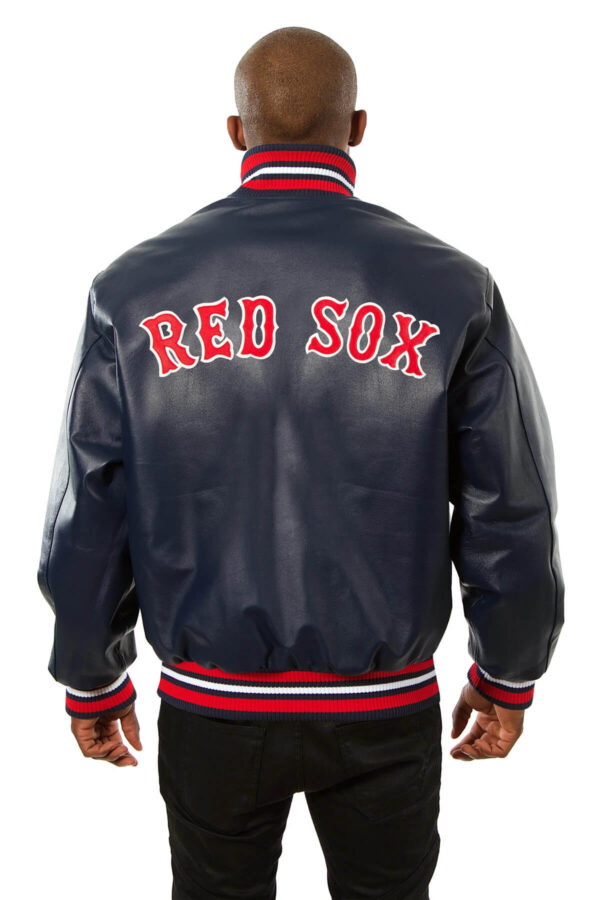 Navy Blue Boston Red Sox Leather Jacket