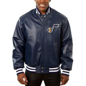 Navy Blue Jeff Hamilton NBA Utah Jazz Leather Jacket