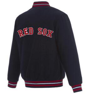 Navy Blue MLB Boston Red Sox Wool Jacket