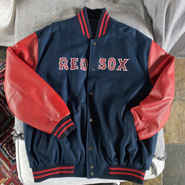 Navy Blue MLB Boston Red Sox Wool Leather Jacket