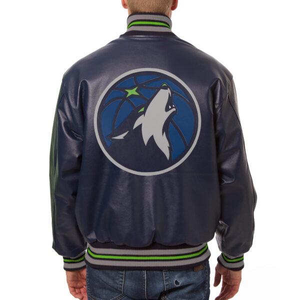 Navy Blue Minnesota Timberwolves NBA Leather Jacket