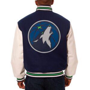 Navy Blue Minnesota Timberwolves NBA Varsity Jacket