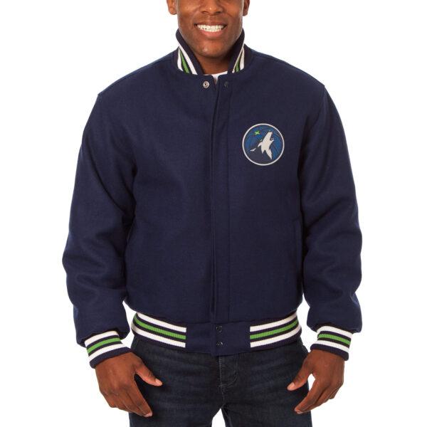 Navy Blue Minnesota Timberwolves NBA Wool Jacket