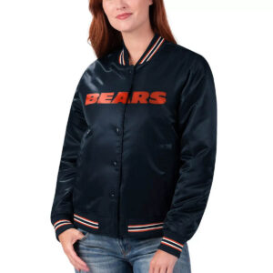 Navy Chicago Bears Rhinestone NFL Satin Jacket
