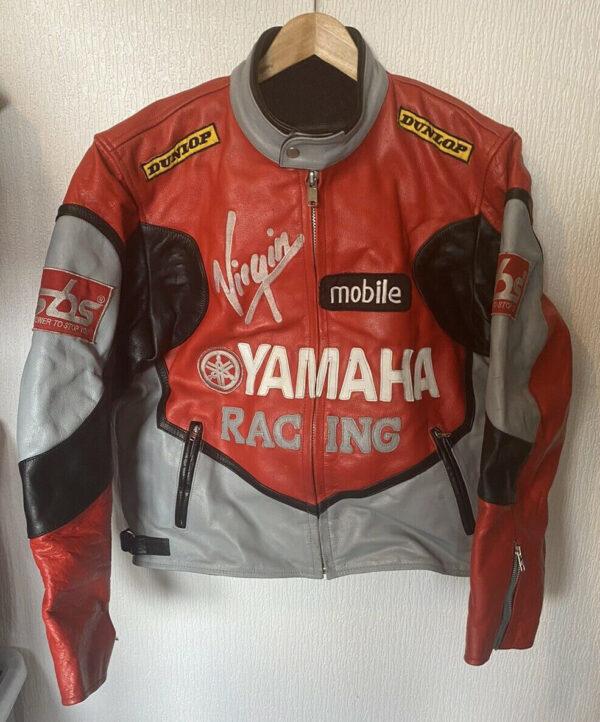 Orange Gray Yamaha Motorcycle Racing Leather Jacket