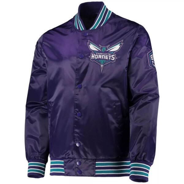 Purple Charlotte Hornets Renegade Satin Jacket