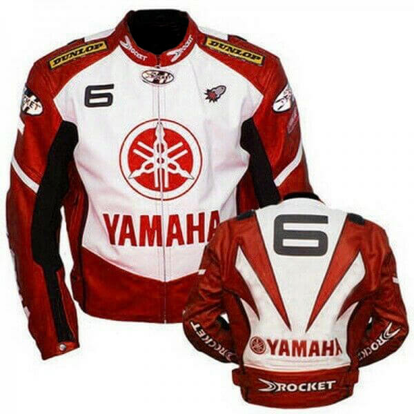 Red White Yamaha 6 Motorcycle Joe Rocket Leather Jacket