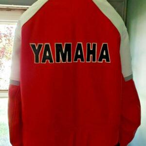 Red White Yamaha Motorcycle Racing Leather Jacket