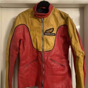 Red Yellow Honda Motorcycle Racing Leather Jacket