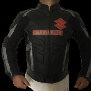 Suzuki GSXR Motorcycle Black Racing Leather Jacket