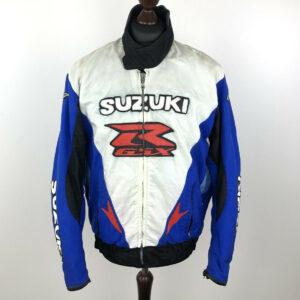 Suzuki GSXR Motorcycle White And Blue Textile Jacket