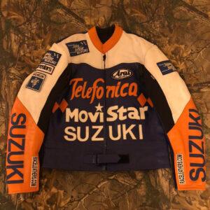 Telefonica Suzuki Movistar Motorcycle Leather Jacket