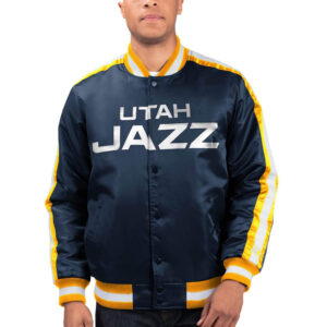Utah Jazz The Offensive Varsity Satin Full Snap Jacket