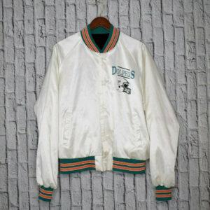 Vintage 80s White Miami Dolphins Satin Bomber Jacket