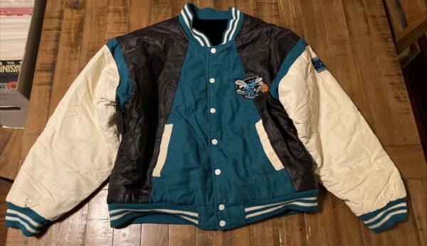 Vintage 90s Charlotte Hornets Leather Wool Jacket
