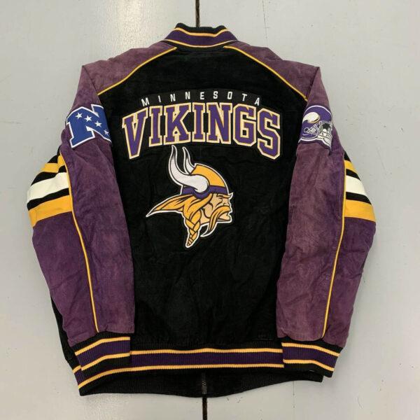 Vintage 90s Minnesota Vikings NFL Suede Leather Jacket