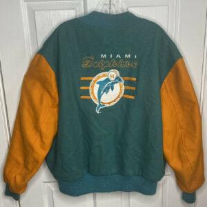 Vintage 90s NFL Miami Dolphins Varsity Bomber Jacket