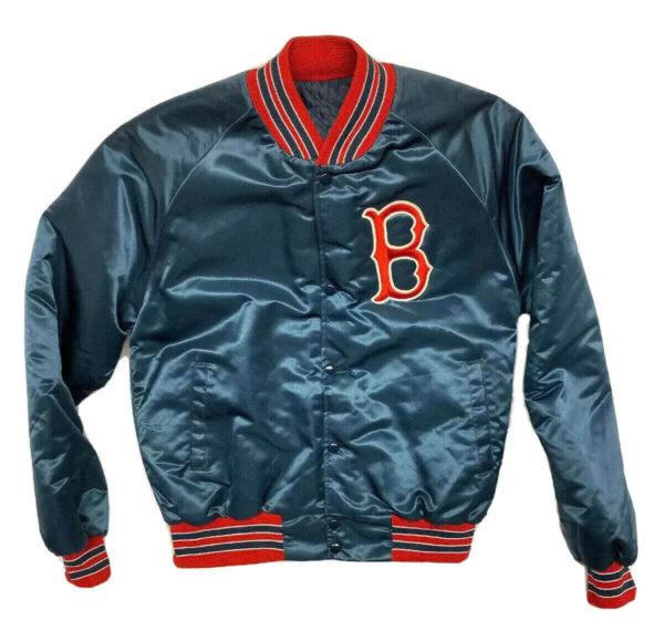 Vintage Blue MLB Boston Red Sox Satin Jacket