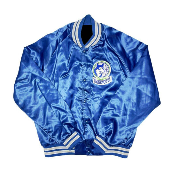 Vintage Blue Minnesota Timberwolves NBA Satin Jacket