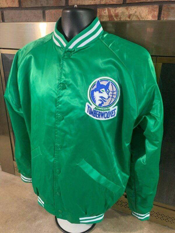Vintage Green Minnesota Timberwolves NBA Satin Jacket