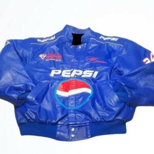 Vintage Jeff Gordon Pepsi Blue Leather Quilted Jacket