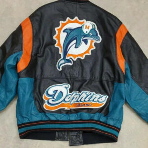 Vintage Miami Dolphins Black Leather Jacket