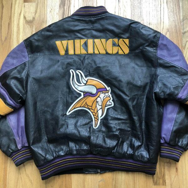 Vintage Minnesota Vikings Black Leather Jacket
