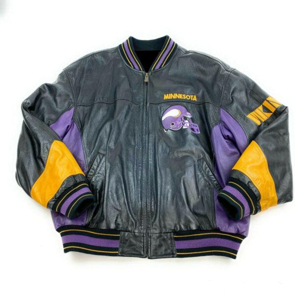 Vintage Minnesota Vikings NFL Black Leather Jacket