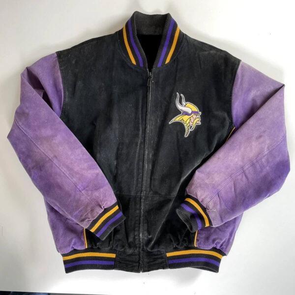 Vintage Minnesota Vikings NFL Suede Leather Jacket