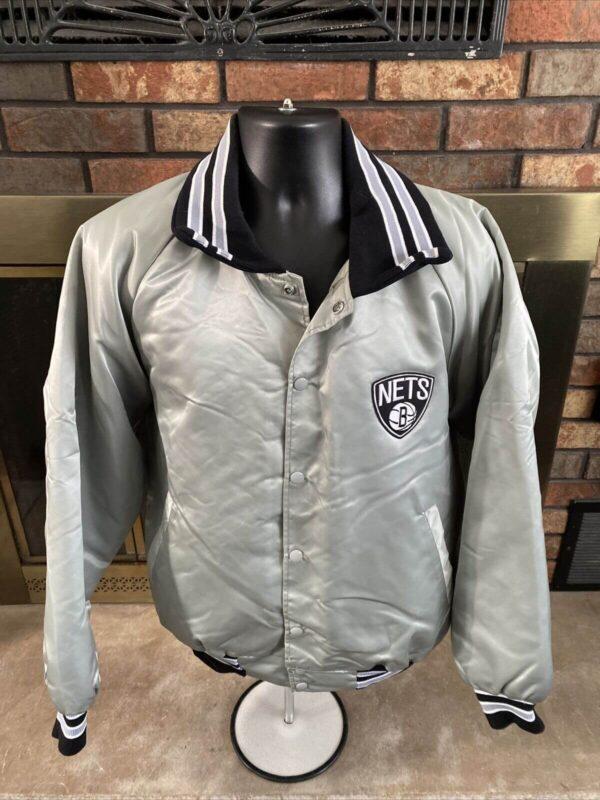 Vintage NBA Brooklyn Nets Silver Satin Jacket