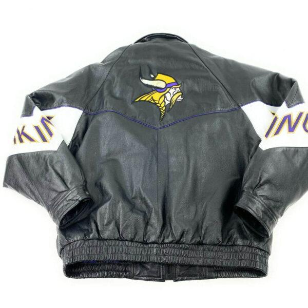 Vintage NFL Minnesota Vikings Black Leather Jacket