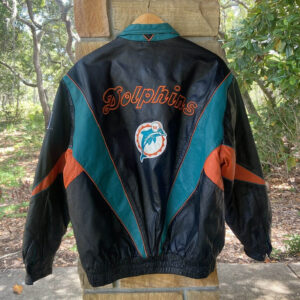 Vintage Pro Player NFL Miami Dolphins Leather Jacket