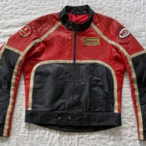 Vintage Yamaha Motorcycle Red And Black Leather Jacket