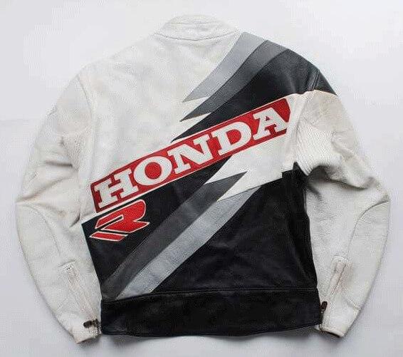 White Black Honda Motorcycle Racing Leather Jacket