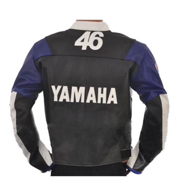 White Black Yamaha Motorcycle Racing Leather Jacket