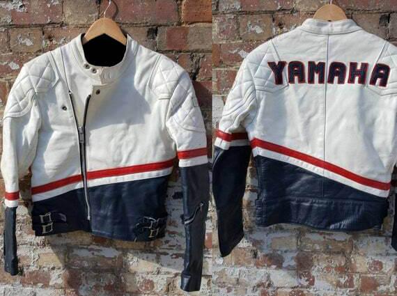 White Blue Yamaha Motorcycle Biker Leather Jacket