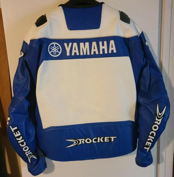White Blue Yamaha Motorcycle Joe Rocket Leather Jacket