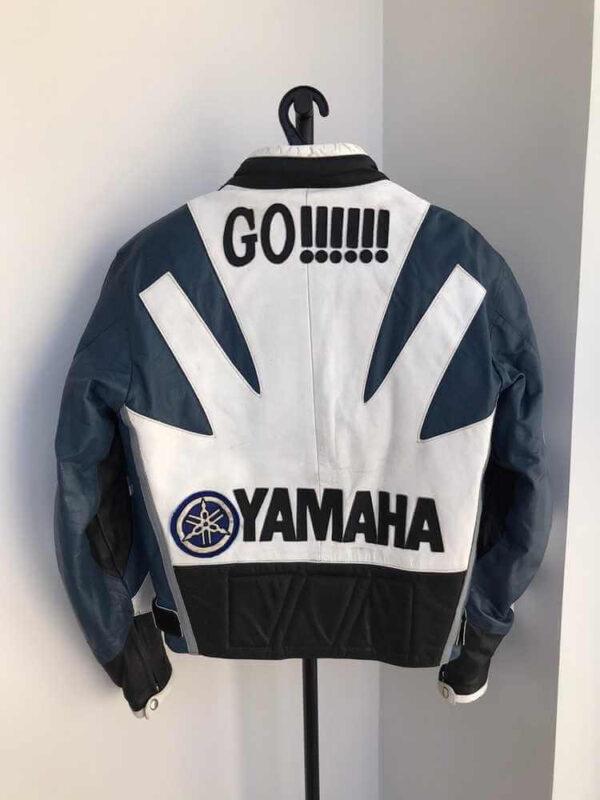 White Blue Yamaha Motorcycle Racing Leather Jacket